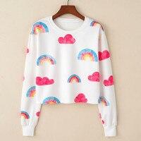 Women T Shirt Casual Cotton Blend Long Sleeve Crop Top Cropped Tshirt Womens Clothing Rainbow Print