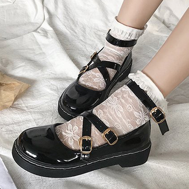 HEE GRAND Spring Mary Janes Women Ankle Strap Flats Platform Shallow Buckle Round Toe Creepers Lady Sweet Flat Shoes XWD7396