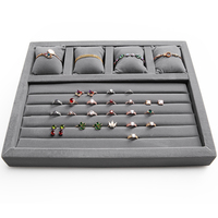 Grey wood and velvet ring and watch storage trays wood 4 slots pillows for bracelet or wattch display storage trays GD2293