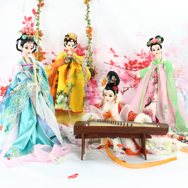 35cm Collectible Chinese Dolls Ancient Costume Season Dolls With 12 Joints Movable BJD Girl Doll Toys Gifts handmade ancient chinese dolls 1 6 bjd jointed doll empress zhao feiyan dolls girl toys birthday gifts