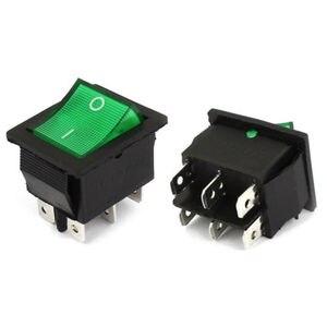 YOCOMYLY 10 pcs New AC250V 15A 6 Pin DPDT ON/OFF 2 Posição Verde Neon light Rocker Switch