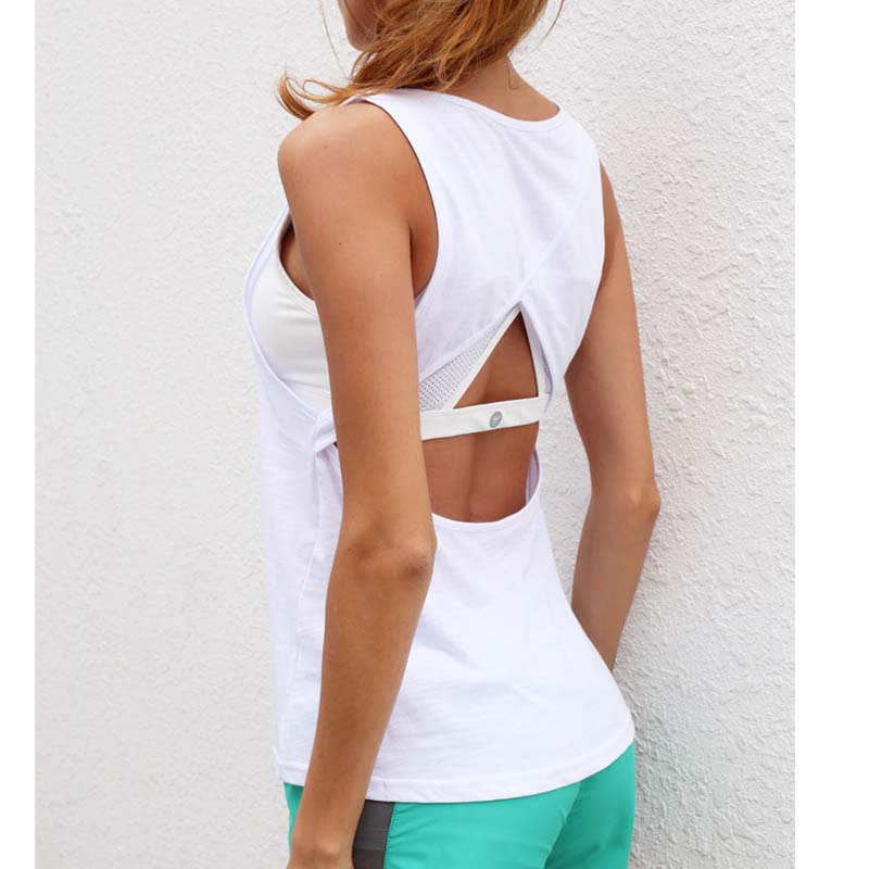 Hollow out Sexy Sleeveless Sports Vest Women Fitness Jogging Yoga Top T-Shirt Quick-Dry Gym Running Sportswear ...