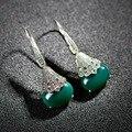 Nova chegada clássicos Grandes Brincos de Ágata Verde Jade Pedra Natural gota de água Retro Vintage Piedras Verdes Brincos Pendurados