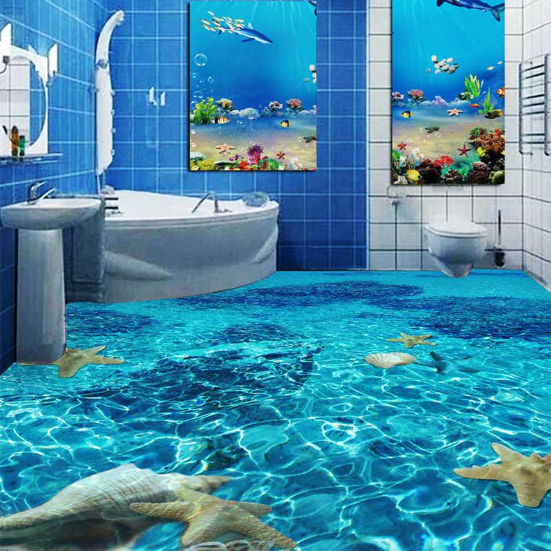3D стерео морская Морская звезда, обои для пола, спальни, ванной комнаты, ПВХ, самоклеющиеся, водонепроницаемые, одежда, 3D плитка для пола, Фреска, Papel De Parede