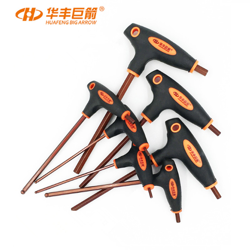 t handle grip torx HUAFENG BIG ARROW T Handle Hex Allen Key Wrench Set Ball Head Wrench Flat Head 2mm-10mm Torx Wrench T10-T50