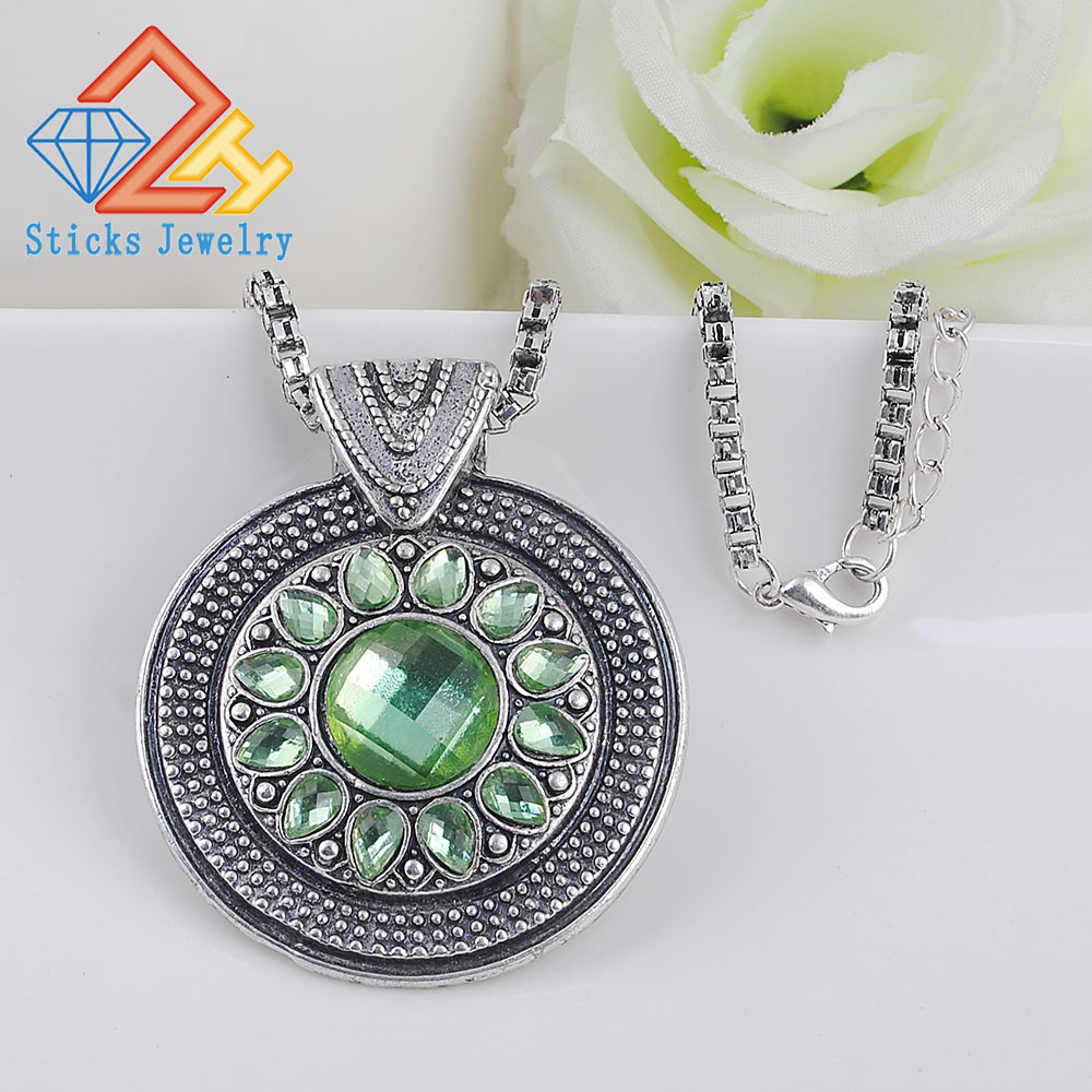 Vintage Jewelry Bohemian Tibetan Silver Chain Necklaces Gypsy Ethnic Carved Metal Flower Pendants For Women