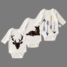 Baby Conjoined Clothes 3pcs/set Cotton Long Sleeved Clothing Spring And Autumn Deer Costumes Kids Funny Babysuit  Girls Clothes
