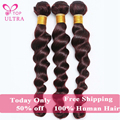 8AColor 99J Brazilian Burgundy Loose Wave 3pcs Brazilian Virgin Hair Weave Red Wine Wavy Human Hair Extension Ms Lula Hair