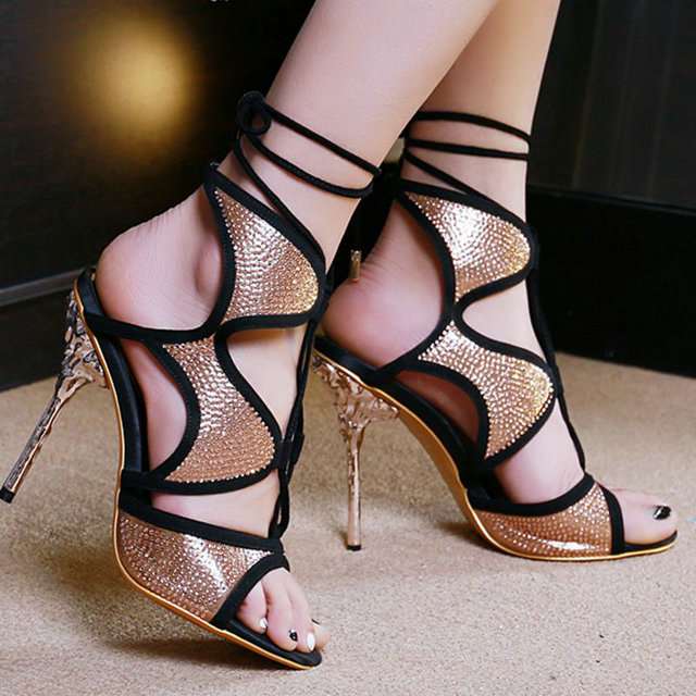 ФОТО Women Super High Heels Fashion Sxey Black Gladiator Style Women Sandals Back Strap Shoes for Woman Open Toe Shoes