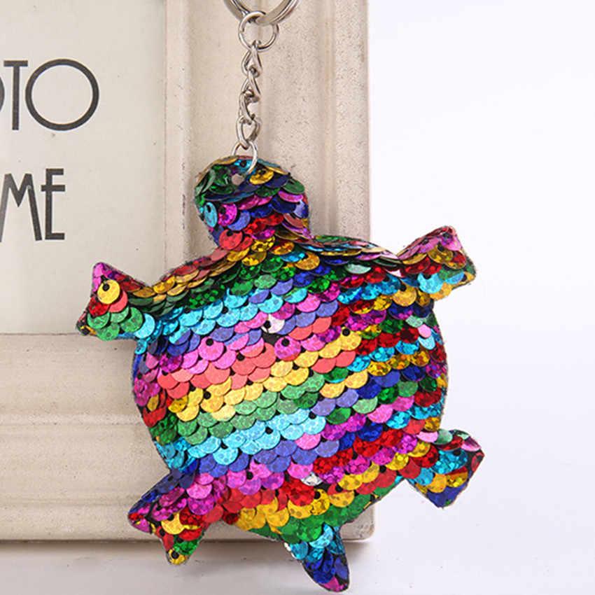 Moda Glitter Lantejoulas Chifre de Unicórnio Chaveiro Gato Chaveiro Brilhante Sereia Tartaruga Animais Chaveiros para As Mulheres Saco de Jóias Pingente