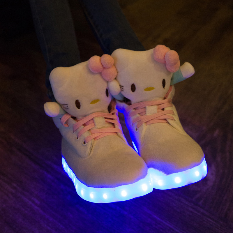 ФОТО 2017 size 30-40 Hello Kitty USB charging shoes Children LED Luminous shoes casual kids girls fashion sneakers brand girls shoes