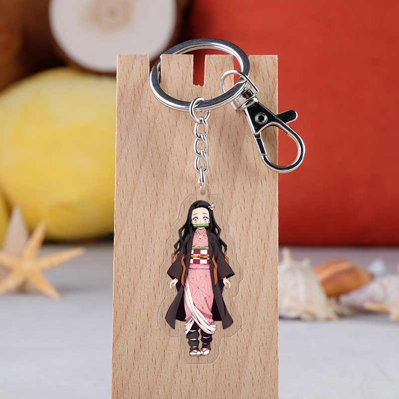 Anime Keychain Demon Slayer: Kimetsu no Yaiba Kamado Nezuko Double Sided Key Chain Cosplay Cartoon Adults Child Keyring Pendant