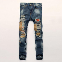New hole men jeans 2017 casual straight jeans men cotton balmai jeans homme high quality men denim trousers Hip Hop biker jeans