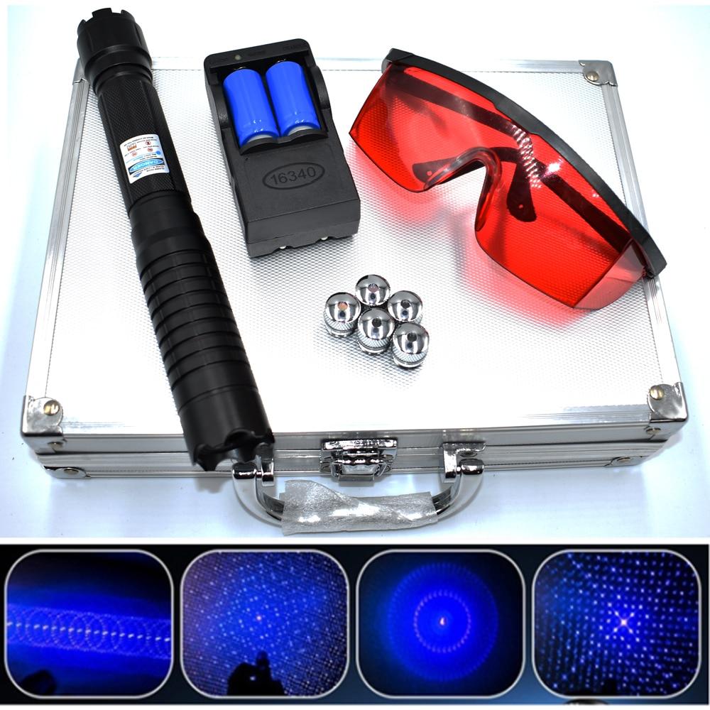 Burning Blue Laser Pointer Flashlight sight Torch 445nm 10000m Focusable Lazer burn match candle lit firecracker