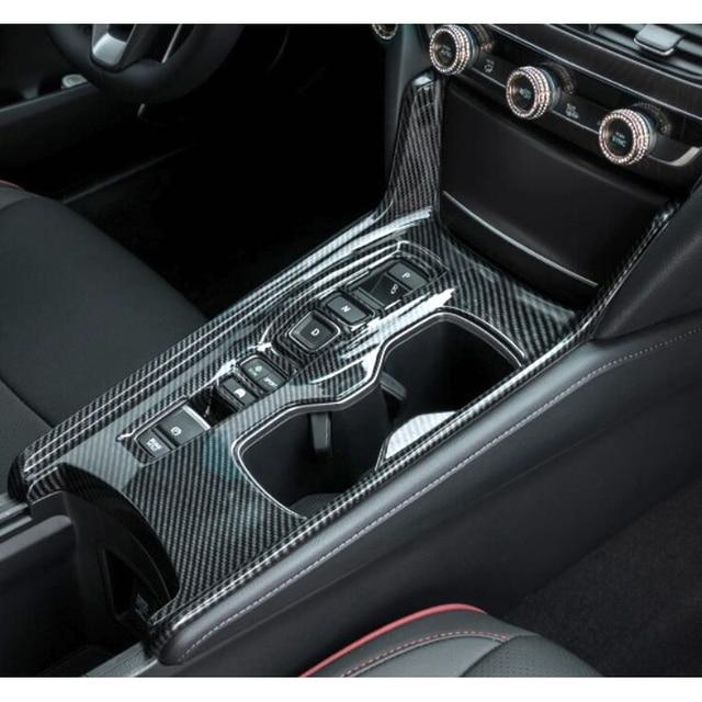 For 10th Honda Accord 2017 2018 Hybrid Carbon Fiber Style Inner Gear Shift Box Panel Holder Cover 5