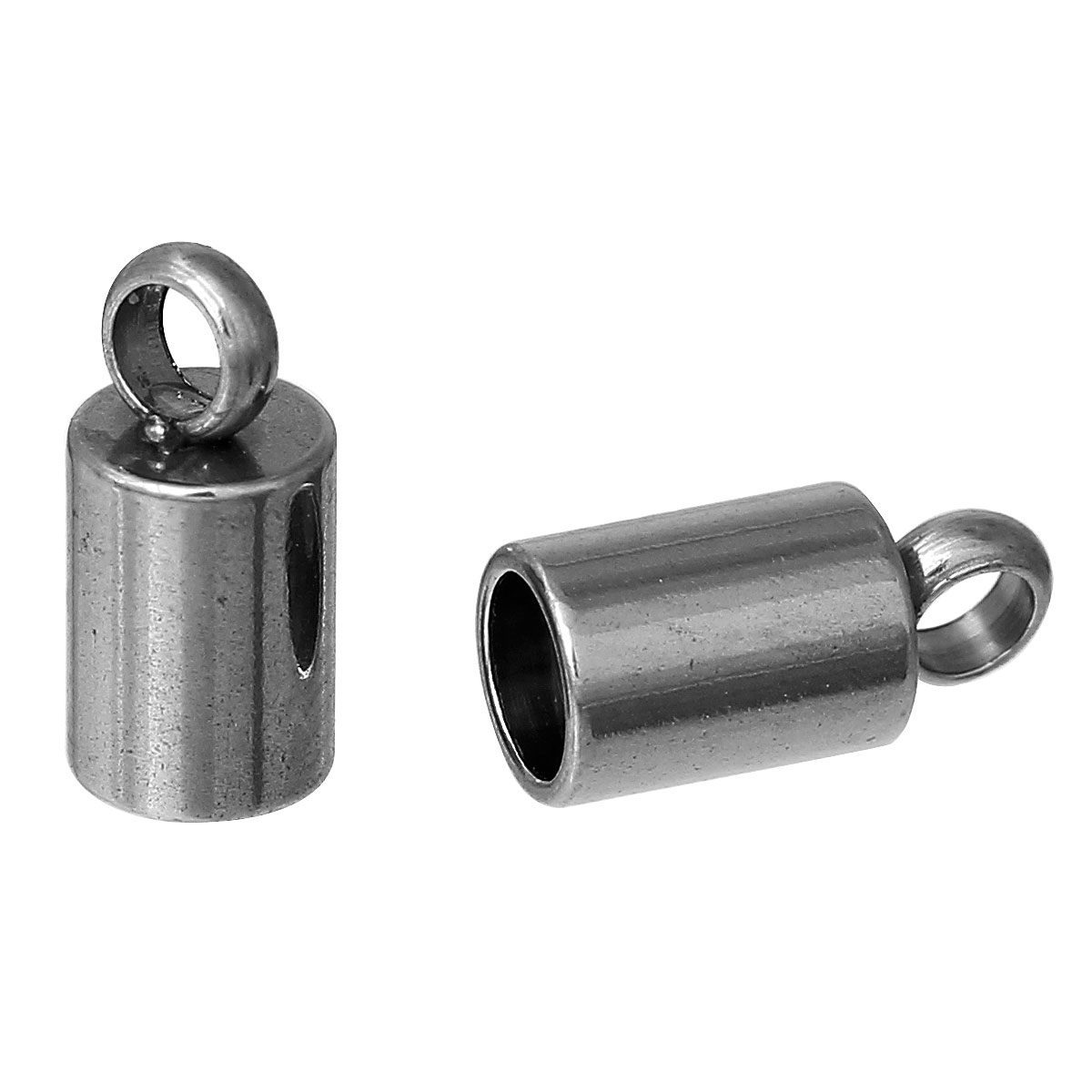 DoreenBeads Stainless Steel Necklace Cord End Tips Cylinder dull silver color (Fits 3mm Cord)8.5mm(3/8