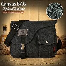Squirrel fashion vogue casual canvas pattern brand denim men messenger bag briefcase versatile business male vintage men's bags