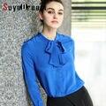 Mulheres Blusa De Seda Sólida chiffon Bow collar manga comprida blusa camisa 100% Blusas femininas 2017 Primavera Azul de SEDA REAL