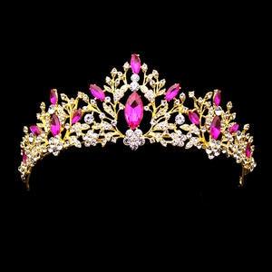 Princess Tiara Headband Crystal Rhinestone Pageant-Crown Wedding-Party Pink Bridal Diadem