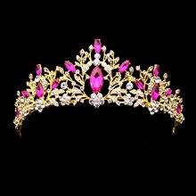 Diadema nupcial con diamantes grandes, diadema rosa con diamantes de imitación para quinceañera, Tiara de princesa, corona de cristal para desfile, diadema para baile de graduación, fiesta de boda