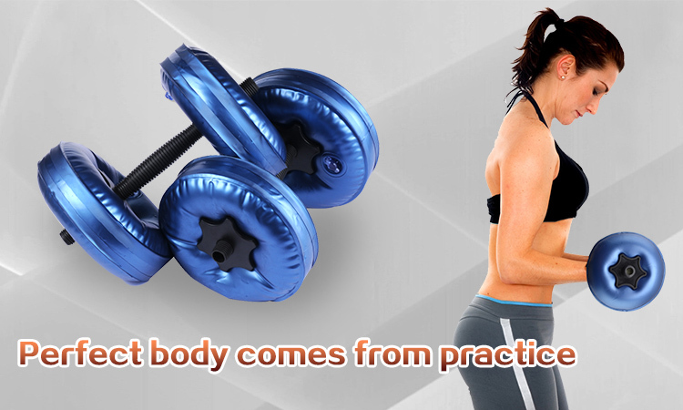 Free shipping 2016 new arrival fittness adjustable weight water filled dumbbell 4 bags/set muscle building gym equipment plastic