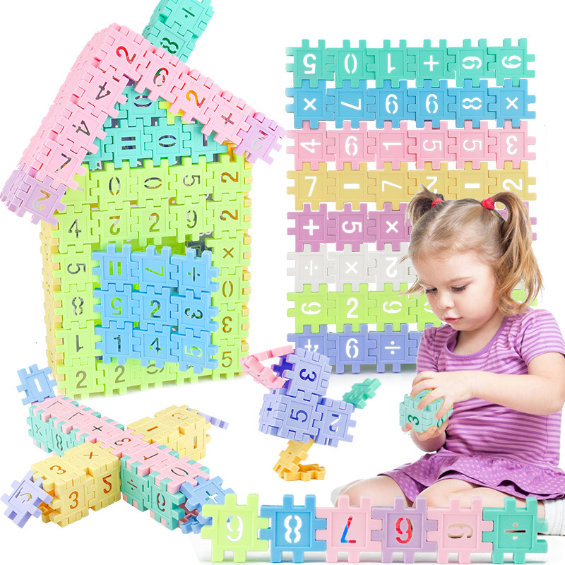 96pcs Warm Color Digital Educational Building Blocks Assembly DIY Creative Bricks Sets Wisdom Development Toys For Children Kids