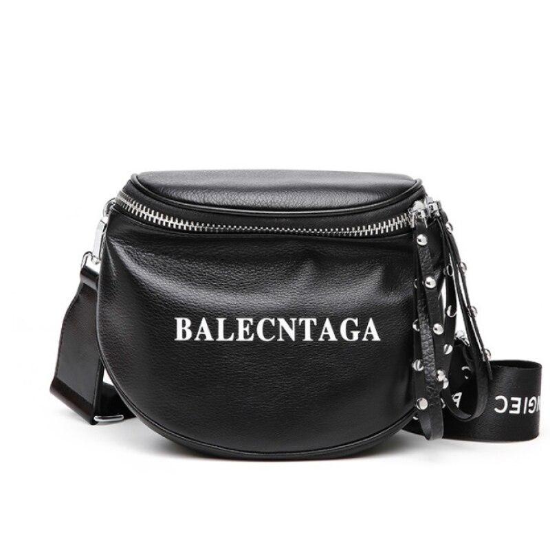Genuine Leather Women Bag Lichee Pattern Shoulder Messenger Bag Casual Wide Shoulder Strap Ladies Saddle Bags