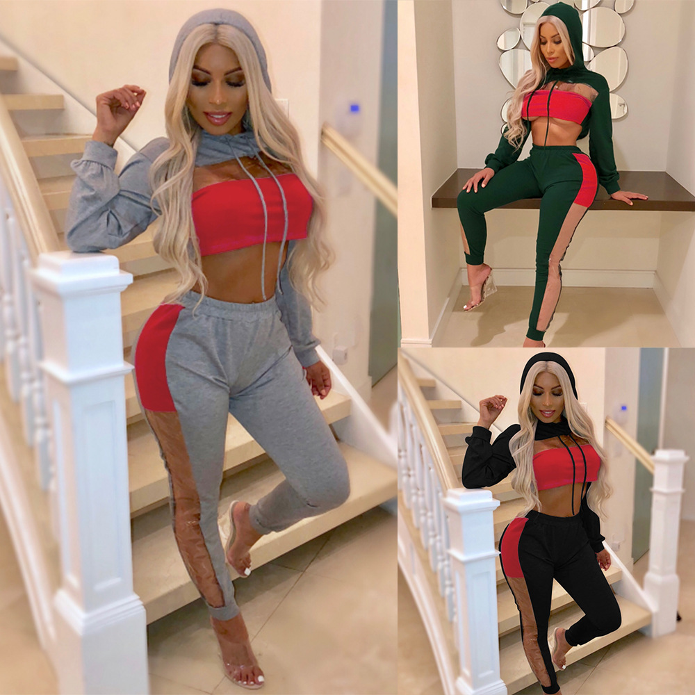 S XL long sleeve short hooded tops long pant two piece set casual leisure brand 2pcs set autumn winter women clothes in Women 39 s Sets from Women 39 s Clothing