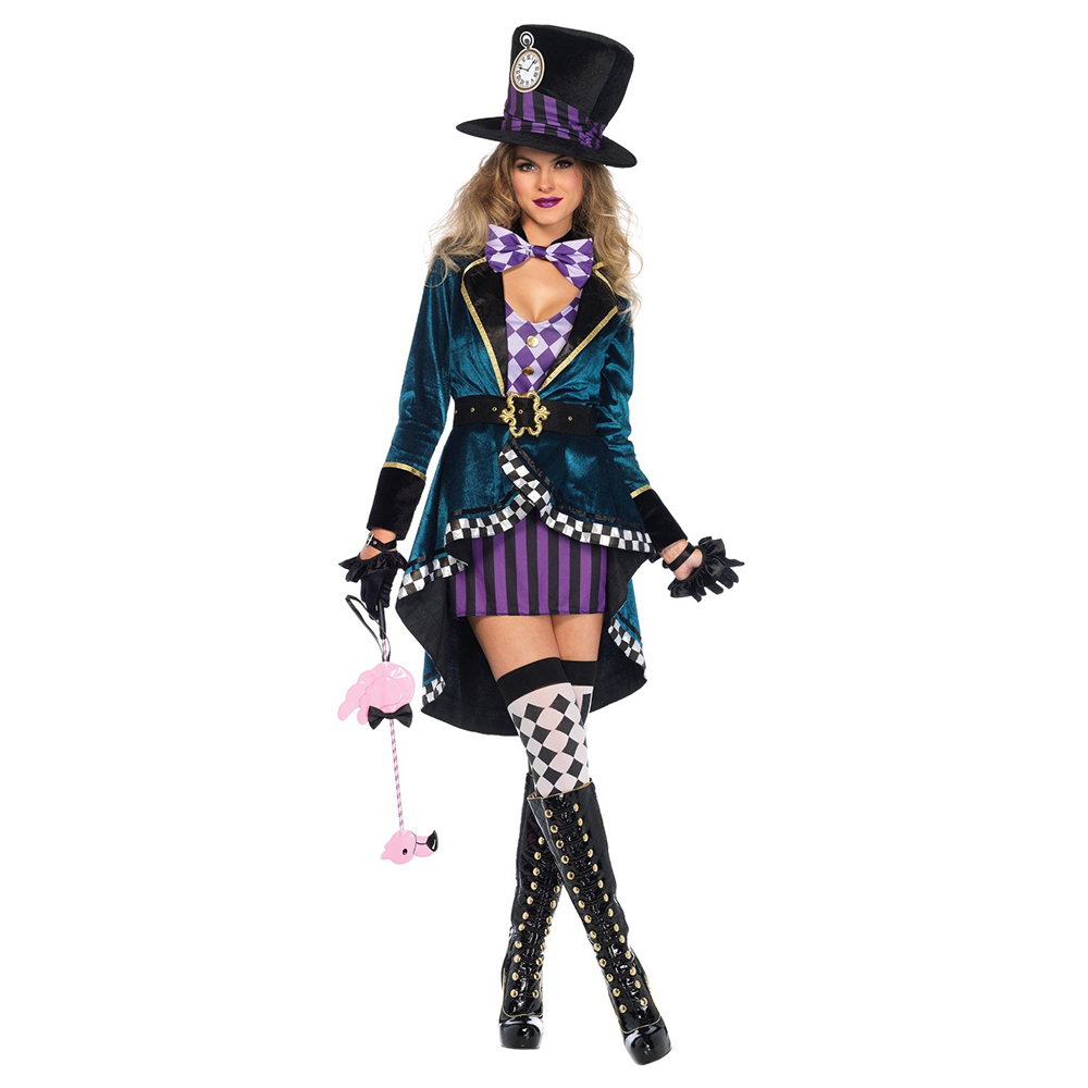 Alice in Wonderland Clown Mad Hatter Costume for Adults Women Fantasias <font><b>Sexy</b></font> Magician <font><b>Cosplay</b></font> <font><b>Halloween</b></font> Carnival Magic Dress image