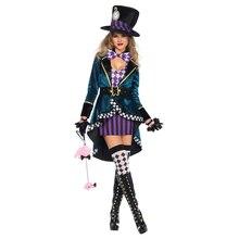 Alice in Wonderland palyaço deli şapkacı yetişkinler için kostüm kadınlar Fantasias seksi sihirbaz Cosplay cadılar bayramı karnaval sihirli elbise