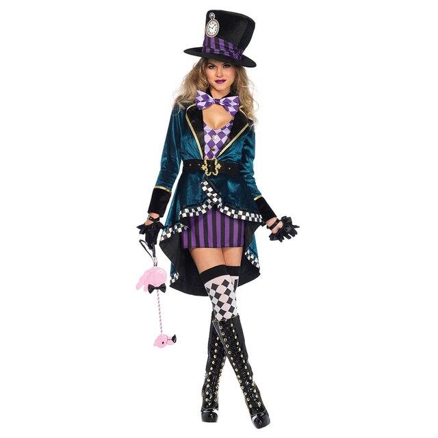 Disfraz de payaso de Alicia en el país de las maravillas para adultos, Halloween, Carnaval, vestido de magia