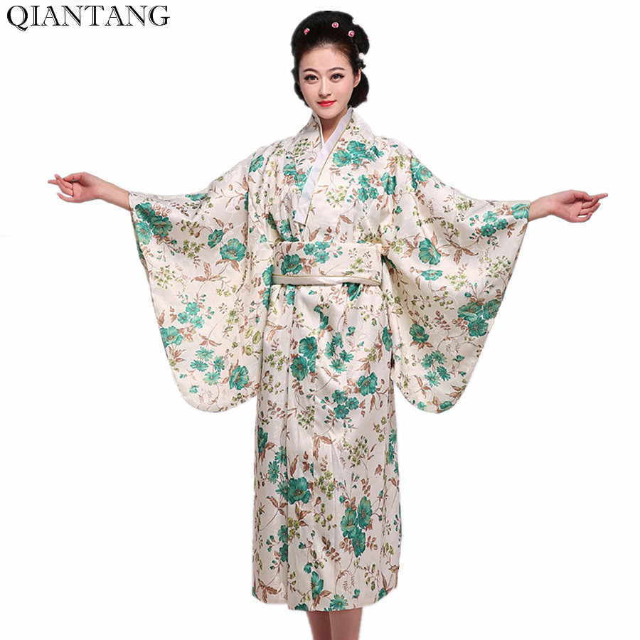 Offre spéciale Vintage japonais femme Kimono Yukata Mujer Quimono dame robe de soirée fleur taille unique HW038