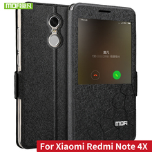 """MOFI Flip Leather Case for Xiaomi Redmi Note 4X PU Leather Case with Stand Function for Hongmi Note 4X 5.5"""" Fundas Smart Window"""