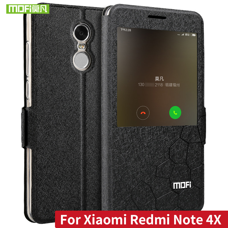 MOFI Flip PU læder taske til Xiaomi Redmi Note 4X med stativfunktion Cover til Redmi Note 4 Global version Fundas Smart Window