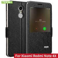 MOFI Flip PU Funda de cuero para Xiaomi Redmi Note 4X con funda de función de soporte para Redmi Note 4 versión Global fundas ventana inteligente