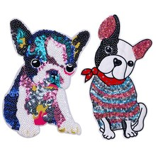 Cute Animal Big Patch Dog Embroidered Iron On Cartoon Patches For Clothes Badge Stickers Fabric DIY Sequin Applique For T-shirt