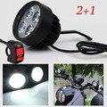 2pcs Motorcycle Scooter LED Headlight Spotlight Moto Driving Fog Spot Head Light Spotlight Assist Lamp Side Mirror Light switch