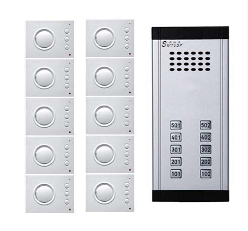 SMTVDP Intercom System Direct Press Key Audio Door Phone for 10 apartments 4-wired Audio Doorphone With Hand-free Indoor Units