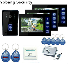 Yobang Security 7″ Door Access Control Video Doorbell Door Phone Touch Key Security Camera 1 Outdoor Camera+3 Indoor Monitor