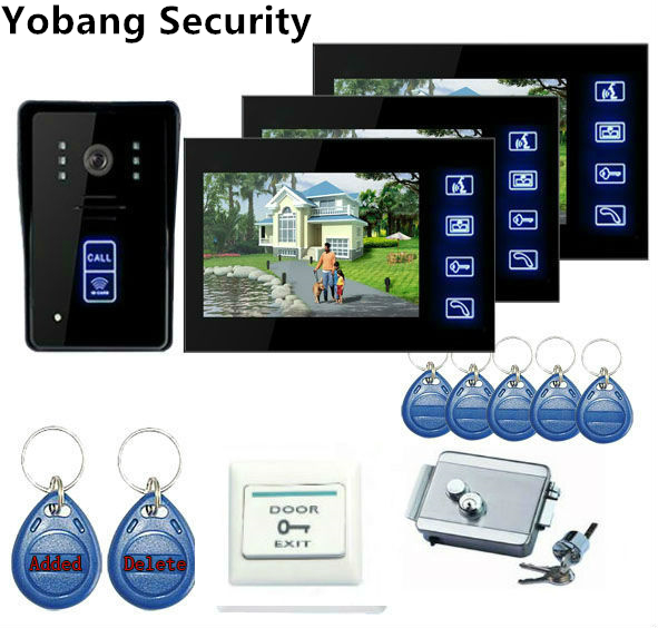 Yobang Security 7 Door Intercom Phone Video Doorbell System Home Apartment Entry Kit Unlocking Dual-way Video Intercom yobang security 9 inch lcd home security video record door phone intercom system doorbell video monitor for apartment villa