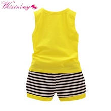 Summer Sport Suit Vest + Stripe Shorts for Kids