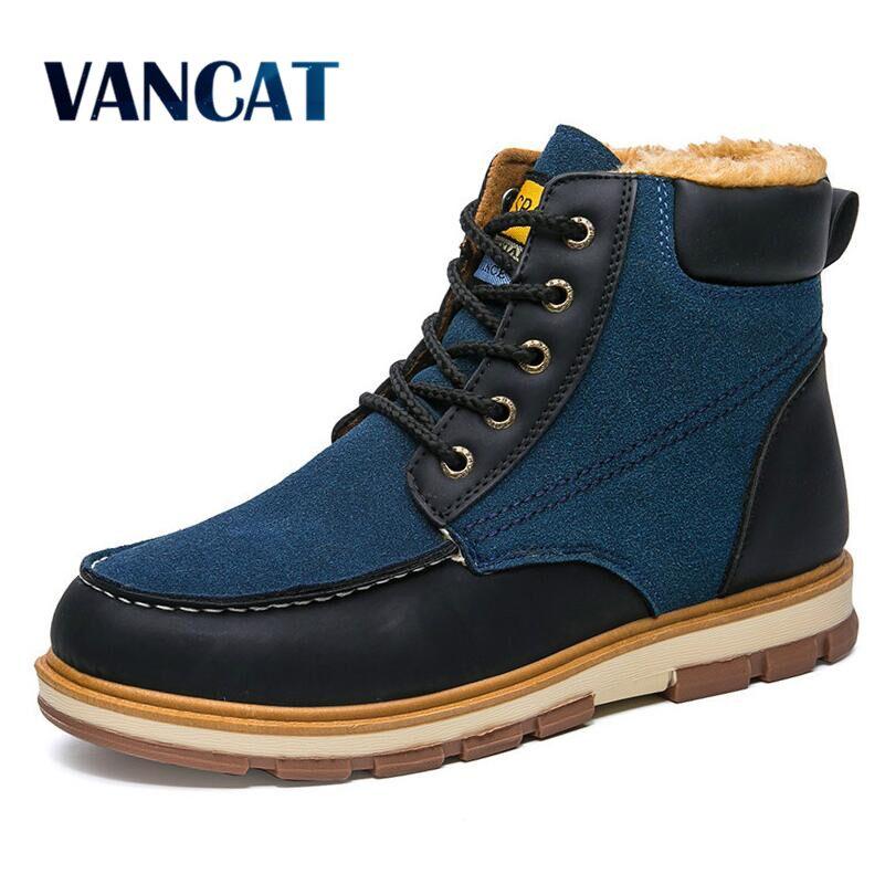 VANCAT Super Warm Men's Winter Pu Leather Ankle Boots Men Winter Waterproof Snow Boots Leisure Motor