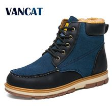 VANCAT Super Warm Men's Winter Pu Leather Ankle Boots Men Winter Waterproof Snow Boots Leisure Martin Winter Boots Shoes Mens