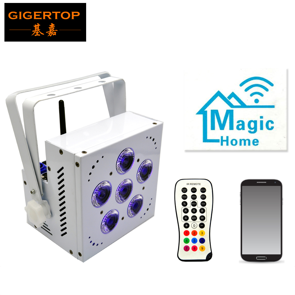 TIPTOP TP-G3043-5IN1 White Housing 5 RGBAW 15W Wireless DMX&Battery Power Led Flat Par Light /Led uplights for wedding party