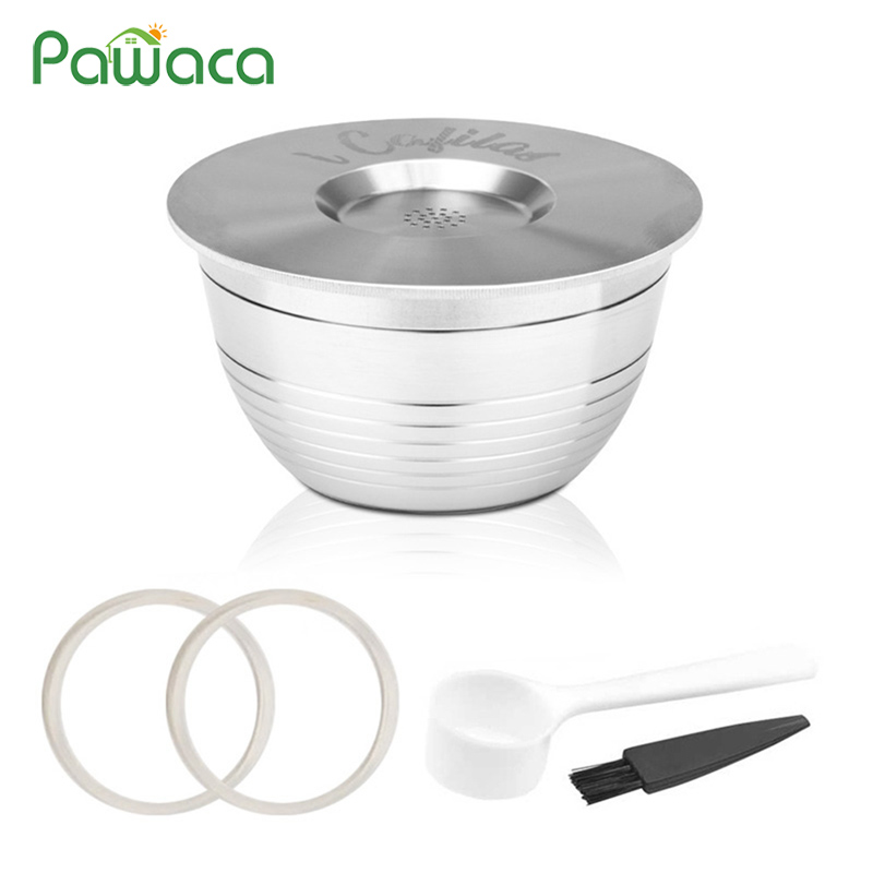 Refillable Reusable Coffee Capsules Stainless Steel Coffee Capsule Cup Pods Coffee Dripper with Spoon for DP1-CN (W) Machines