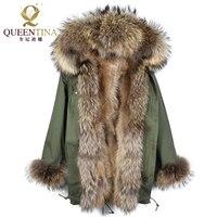 Мех енота парка куртка с капюшоном енота меховой воротник зима теплый длинное пальто толстый натуральный мех парки Для женщин натуральный