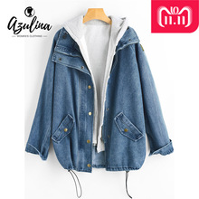 22a39126f3 AZULINA Button Up Hooded Denim Jacket Women Coat 2018 Autumn Winter Jeans  Jackets Female Casual Outwear