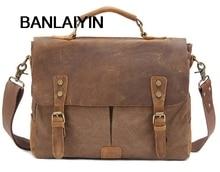 Nice Vintage Military Canvas Leather Men's Briefcase Business Bag Canvas Briefcase Men Shoulder Bag Crossbody Bag