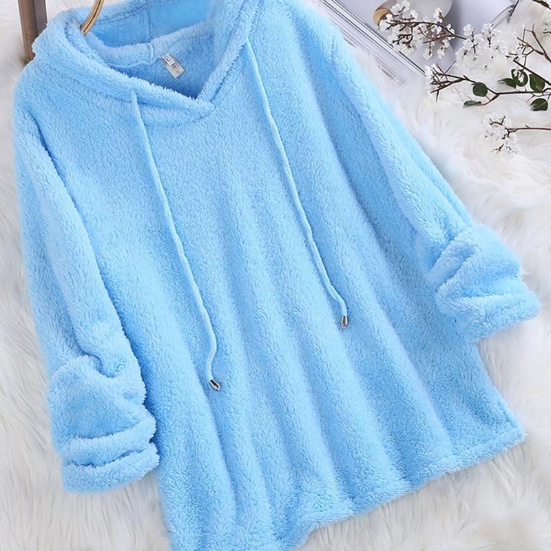 2019 New Women Hoodie Autumn Winter Warm Fashion Long Sleeve Solid Fluffy Fleece Fur Outerwear Sweatshirt Coat Harajuku