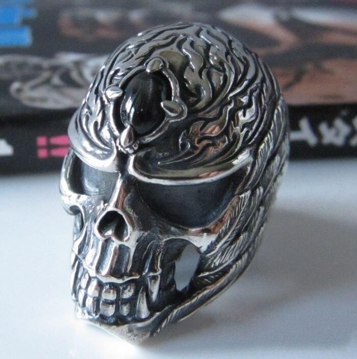 купить Male ring thai silver skull feather ring inlaying stone starlight finger ring онлайн